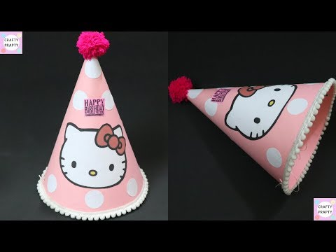 How to make birthday cone hat / DIY Hello kitty Birthday cap