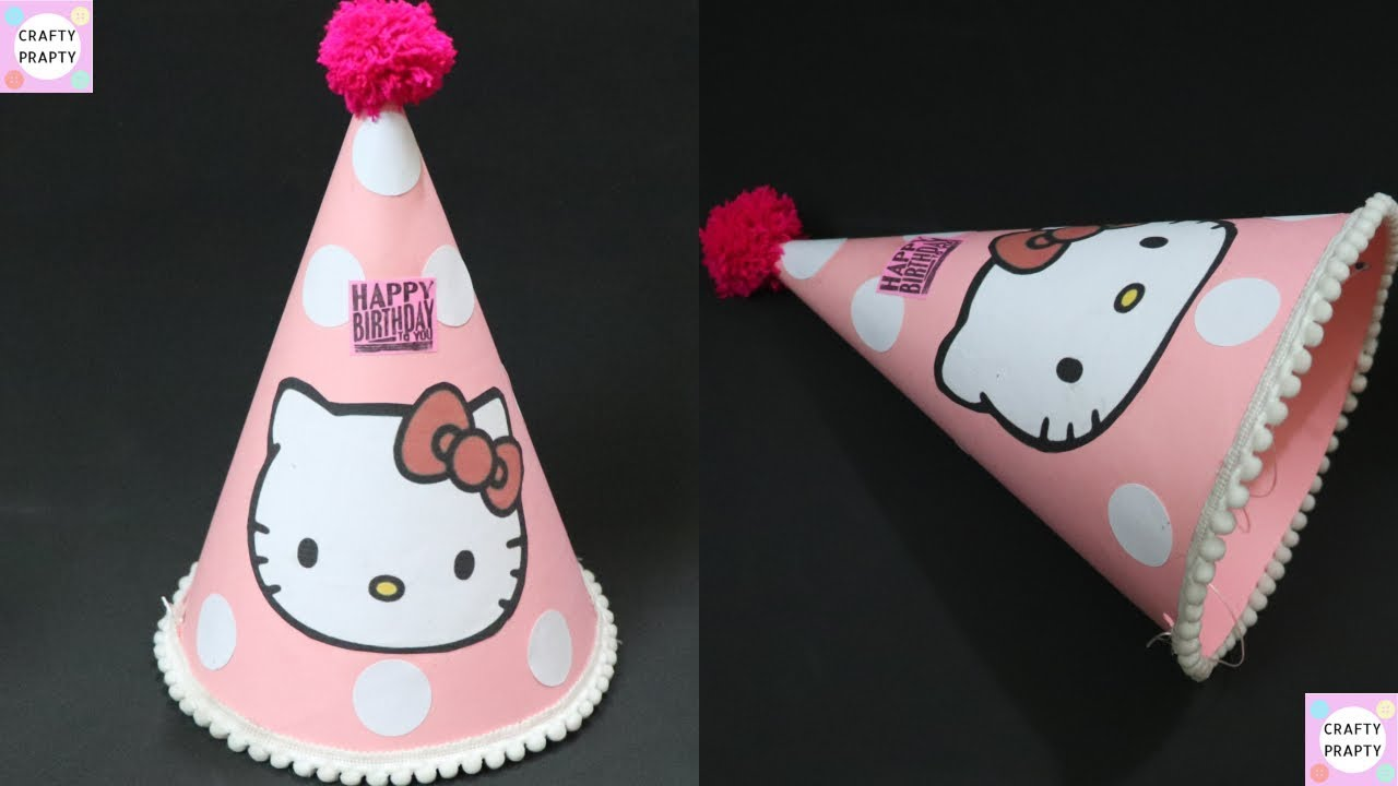 2f36194fc How to make birthday cone hat / DIY Hello kitty Birthday cap - YouTube