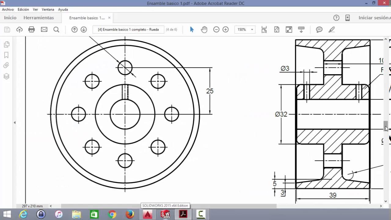 Planos pieza mecanica rueda youtube for Plano de planta dibujo tecnico