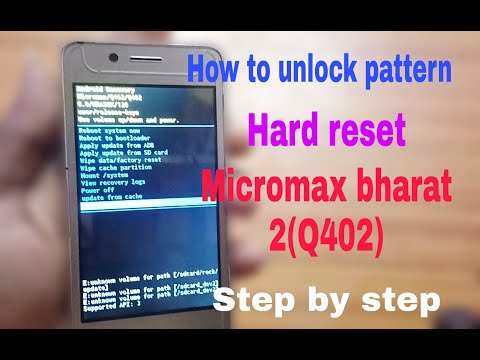 How to unlock pattern in micromax Q402 bharat 2 hard reset restore factory firmware