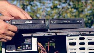 Привод Asus DVD±RRW SATA распаковка, обзор и чистка компьютера, dvd привод как подключить