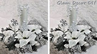 Dollar Tree DIY Glam Frosted Icy Candle Christmas Centerpiece