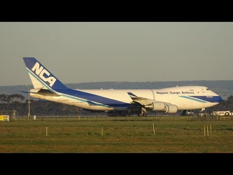 Nippon Cargo Airlines Boeing 747-4KZF (NCA626) Departing Avalon Airport