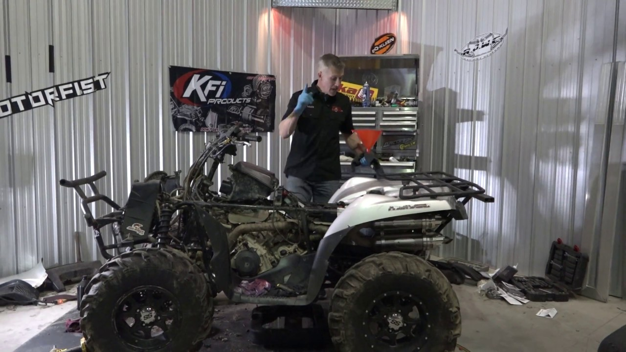 swamped atv engine and diff oil change kawasaki brute force 750 [ 1280 x 720 Pixel ]