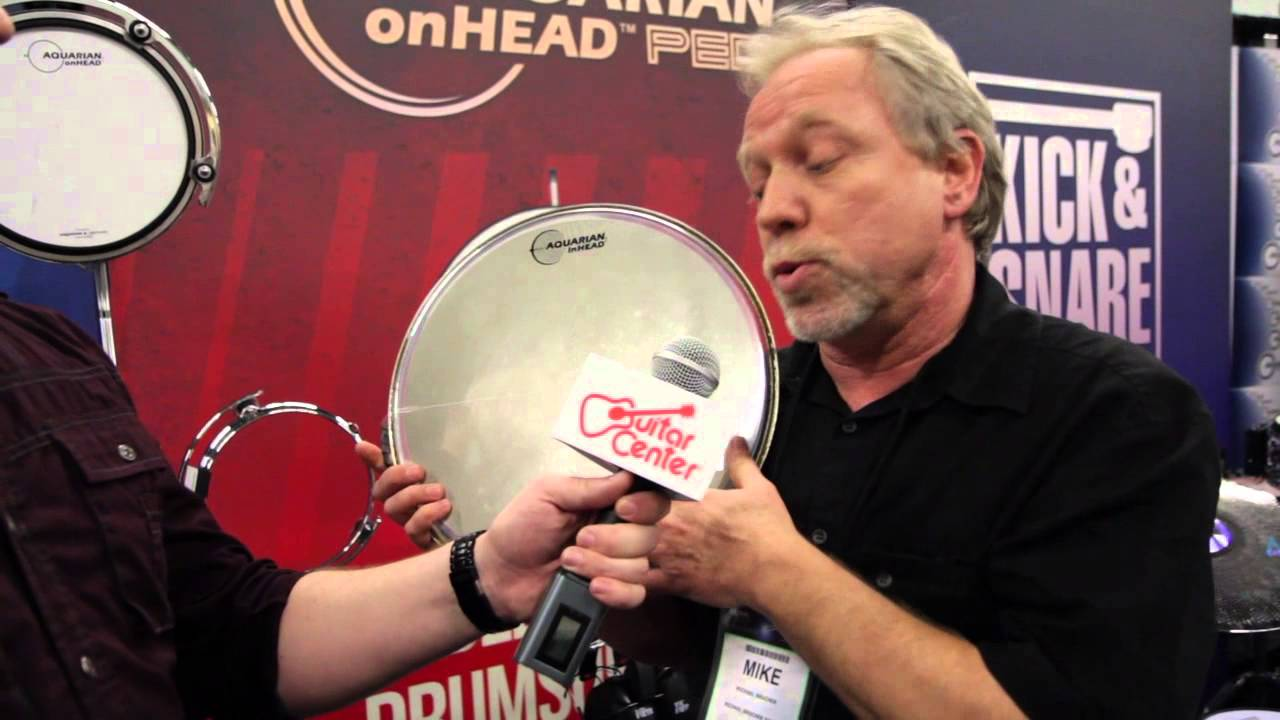 guitar center at namm aquarian inhead acoustic electronic drum heads youtube. Black Bedroom Furniture Sets. Home Design Ideas
