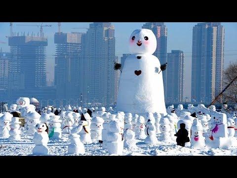 Thousands of snowmen line up in Harbin