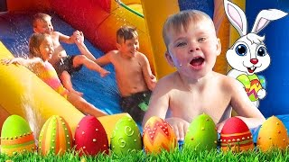 Easter Waterpark Slide Fun! Backyard Bouncy House!   Daily Bumps Easter Special 2017