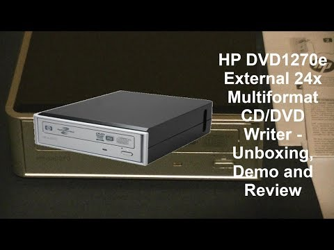 HP DVD1270e External 24x Multi-format CD/DVD Writer - Unboxing, Demo And Review