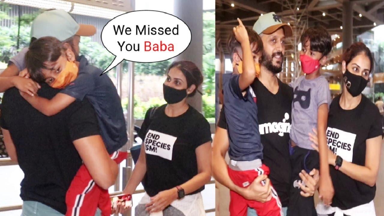 Riaan And Rahyl Runs & Hug Daddy Riteish Deshmukh While Mom Genelia D'Souza Gets Emotional See Them😓