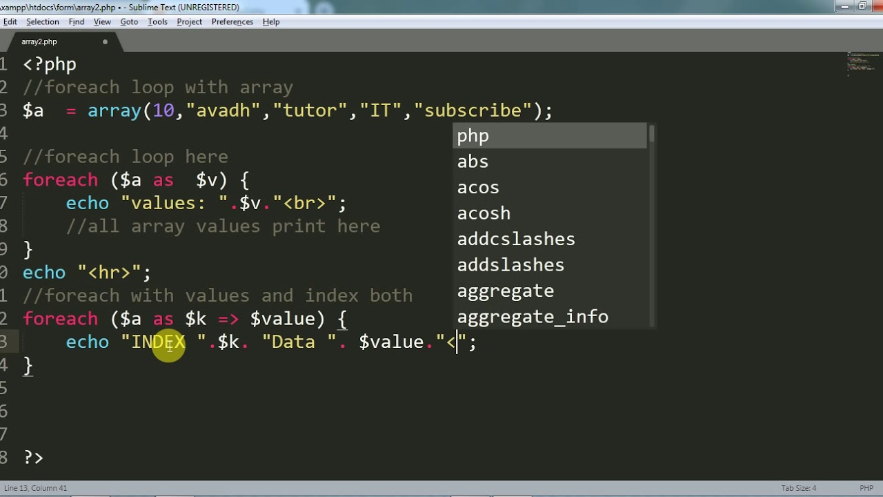 array foreach in php | array for loop in php | php tutorial | avadh tutor