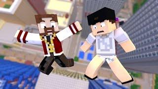Minecraft: SUPER QUEDA #5 - TOMEI BANHO COM O LUIZ!! (c/ Luiz)