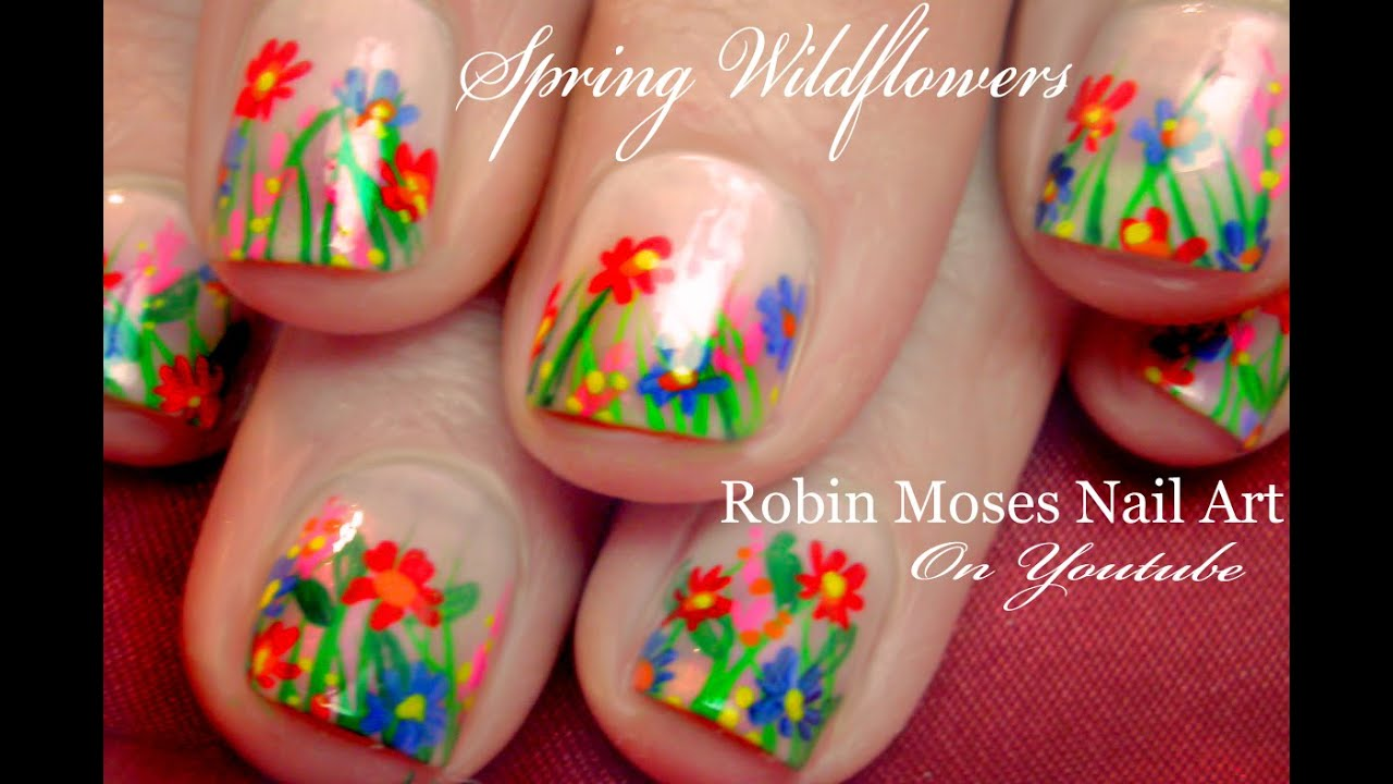 Wild flower Nail Art design for beginners with short Nails ...