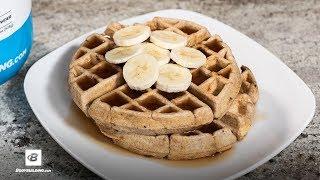 Peanut Butter Banana Chocolate Protein Waffles