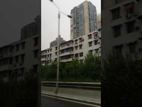 Wuhan City  China, buildings drive by