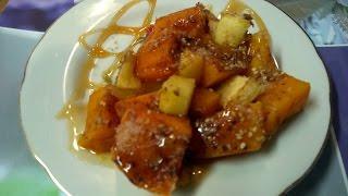 Запечённая тыква с яблоками кунжутом и семенами льна