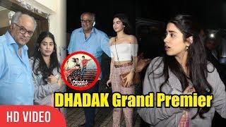 Jhanvi Kapoor With Sister Khushi Kapoor And Father Boney Kapoor at DHADAK Movie GRAND Screening