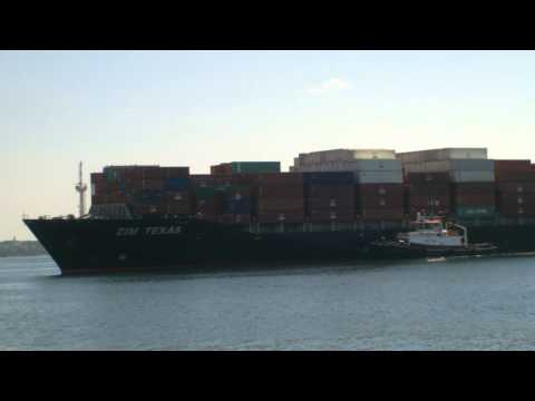 Container Ship ZIM Texas Arriving at Halifax  July 19. 2012