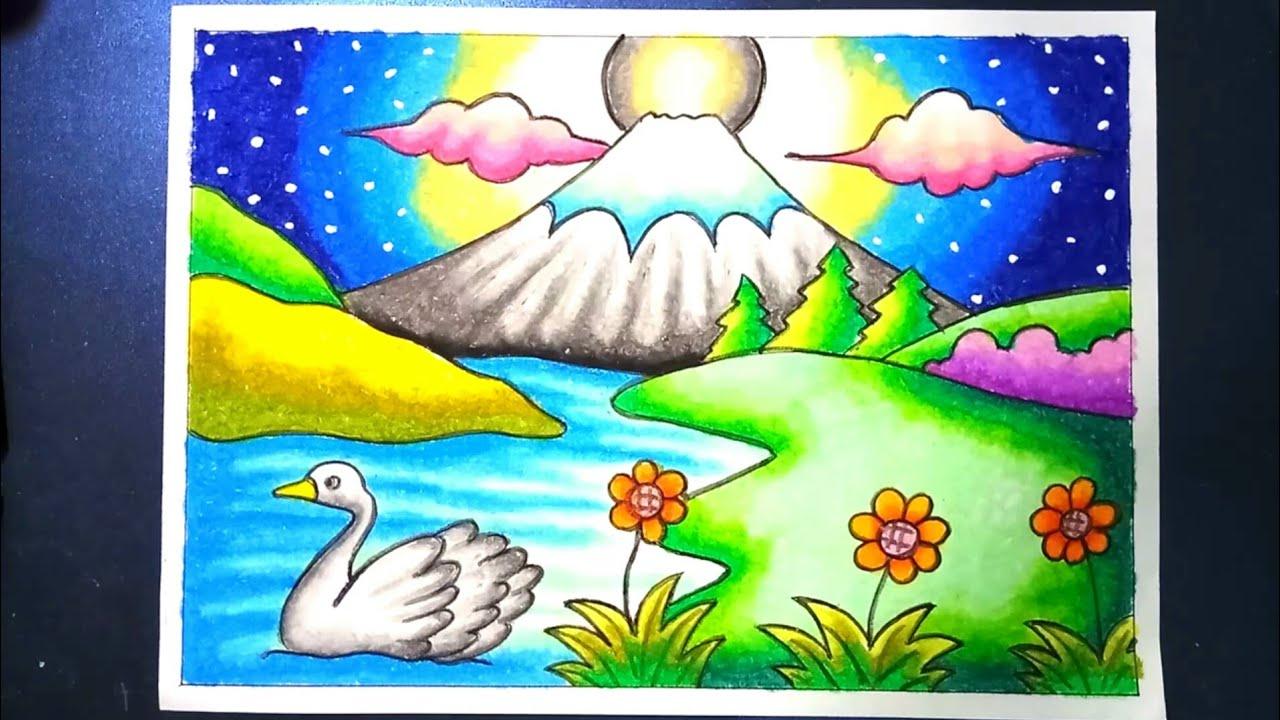 Menggambar Dan Mewarnai Pemandangan Alam Gunung Fuji Dengan Gradasi Crayon Drawing Mountain Scenery