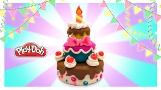 Play Doh Cake. Birthday Cake for Dolls. DIY Doll & Toy Food. Funny Tutorials for Beginners and Kids