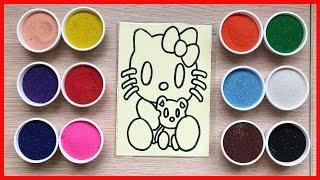 Đồ chơi trẻ em tô tranh cát mèo hello kitty xinh colored sand painting (Chim Xinh)