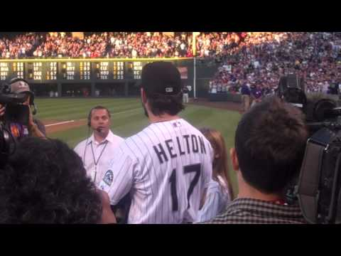 Todd Helton Tribute and First Pitch by Daughter Tierney Faith, 9.25.13