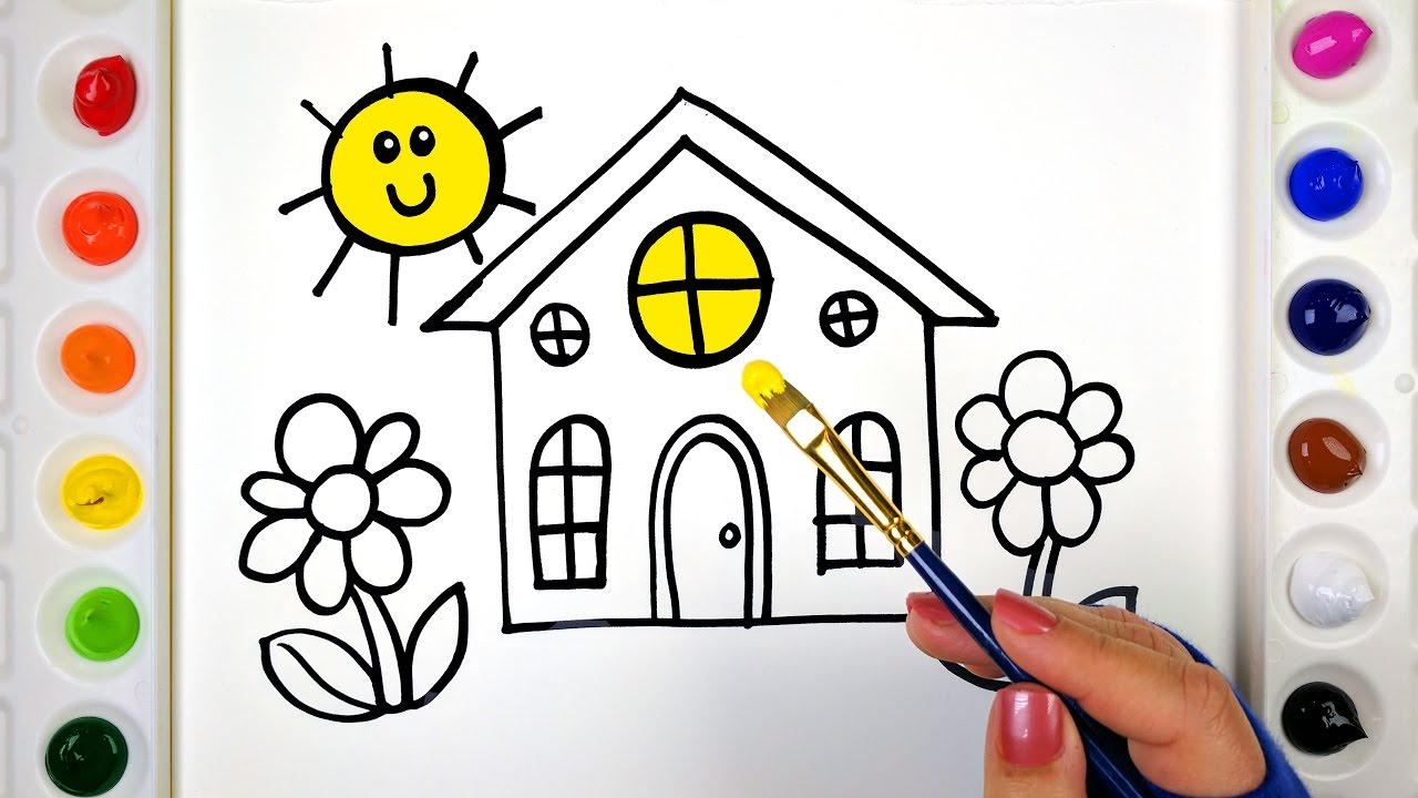 House Coloring Pages for Kids | Drawing, Colouring, Painting a House ...