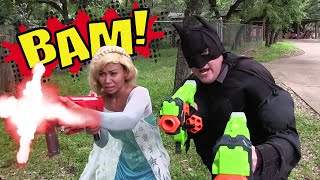 Kid Superheroes 6 - Batman and Frozen Elsa vs Barbie Superhero in an Epic Nerf War