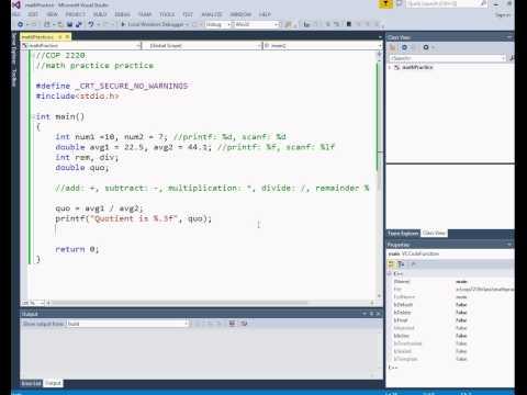 Intro to C math Practice  (Module 2 Video 5 )