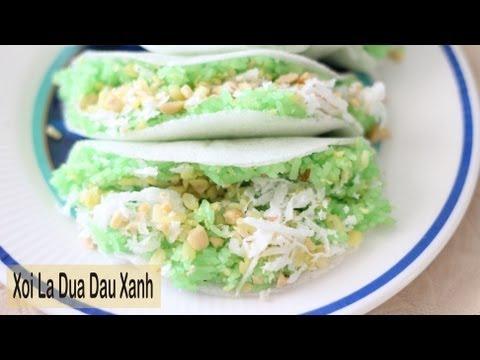 Sticky Rice with Pandan and Mung Bean (Xoi La Dua Dau Xanh)