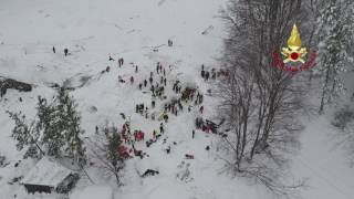 Aerial Footage Shows Rescuers at Work at Avalanche-Hit Italian Hotel