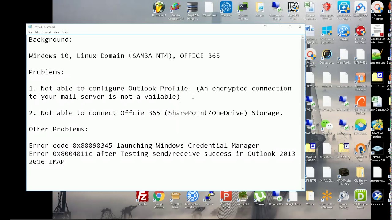 Resolve Office 365 Outlook profile issue Windows 10 with Linux domain Samba  NT4 0x8004011c