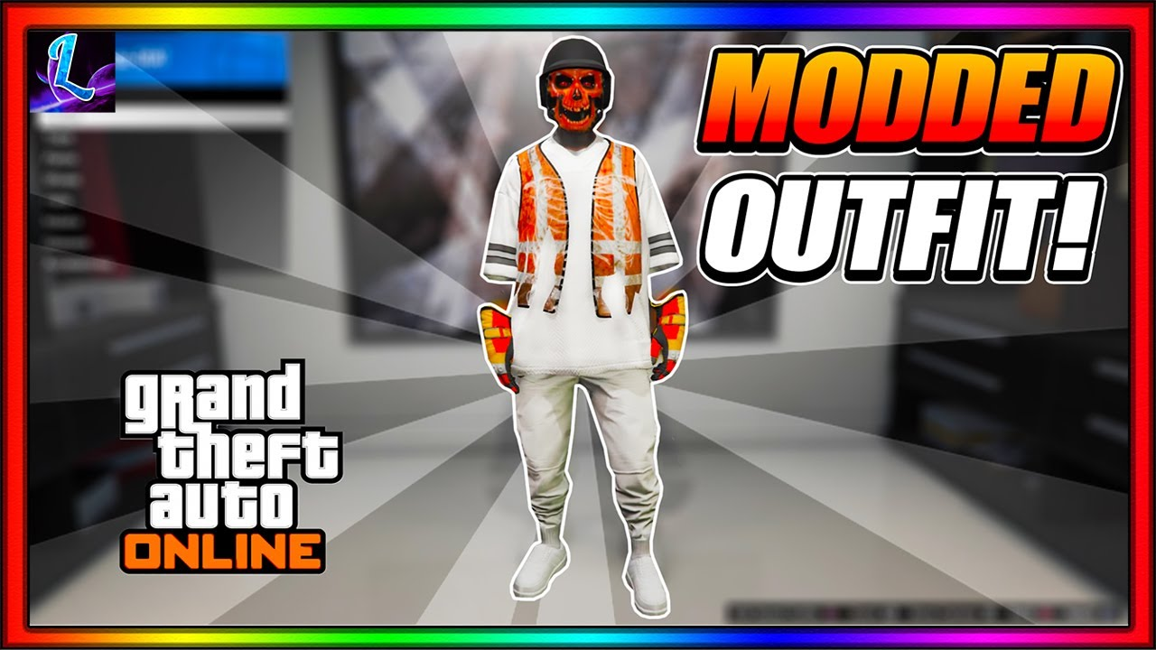 GTA 5 Online How To Get White Joggers With Modded TrashMan Vest And A Modded White Jersey Patch 1.55