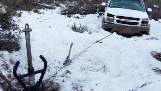All-TIE Anchor pulls truck out - - Winching with NO Truck just portable winch anchor point