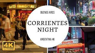 Caminando Corrientes Peatonal Nocturna, Buenos Aires Argentina 2019 4k