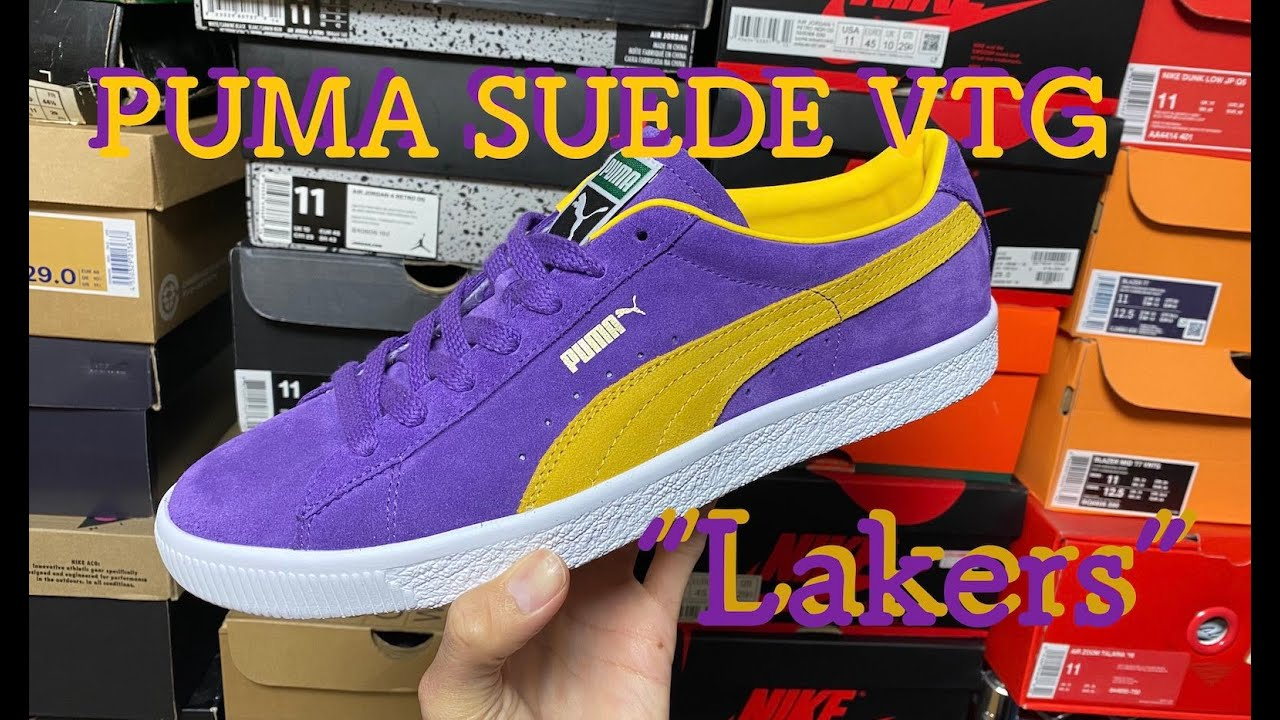 """PUMA SUEDE VTG """"LAKERS"""" review & on feet!!"""