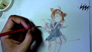 Ep.08-S.02 - Grafite, aquarela e Sakura Card Captors