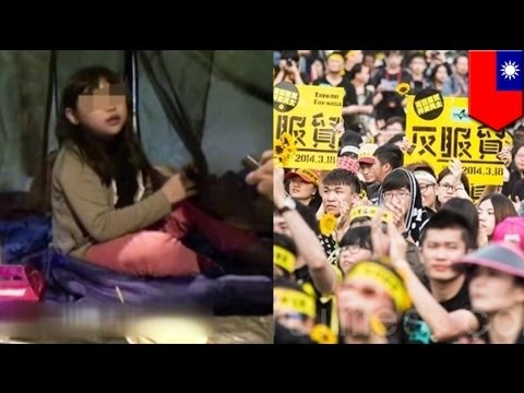 10-year-old Taiwanese student protests against China trade agreement