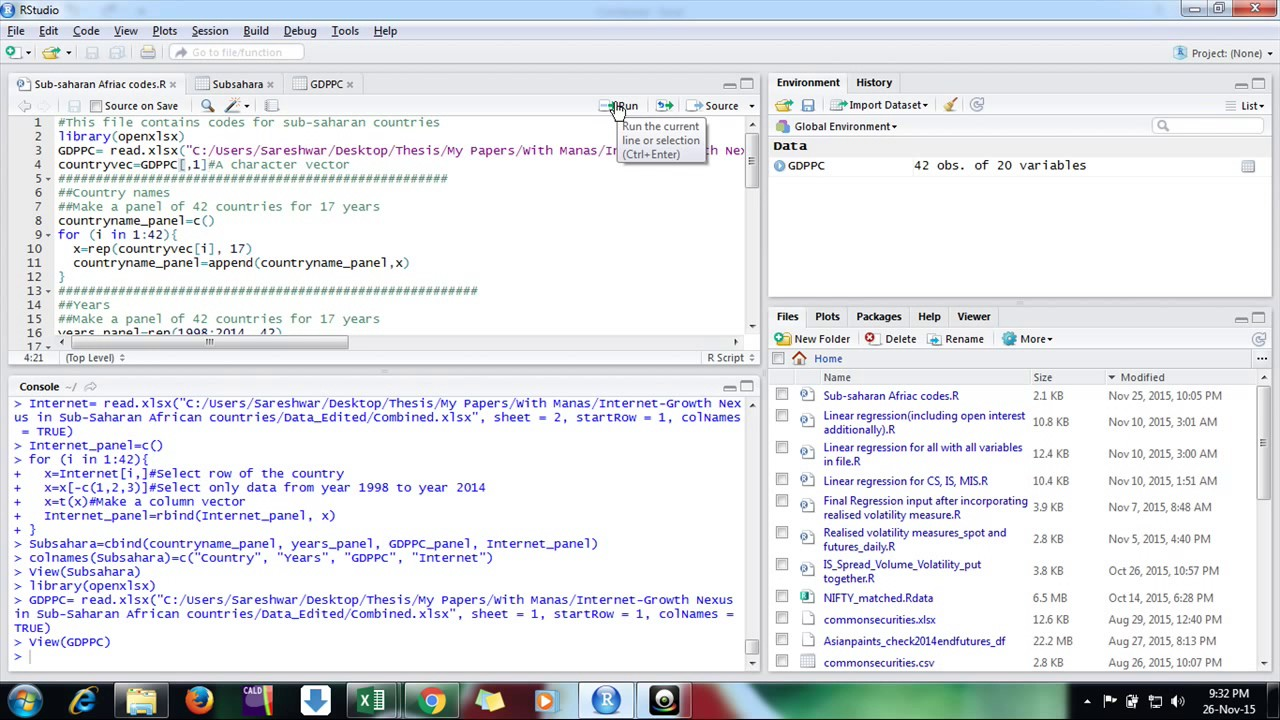 Making a panel dataset in R studio