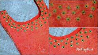 കിടു colour combination-ൽ Very Simple&Easy Neck Design|Hand Embroidery|passion in fashion|