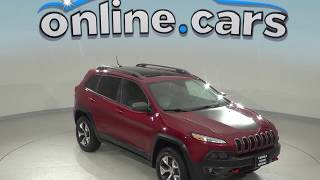 A99231GT Used 2014 Jeep Cherokee Trailhawk 4WD SUV Red Test Drive, Review, For Sale