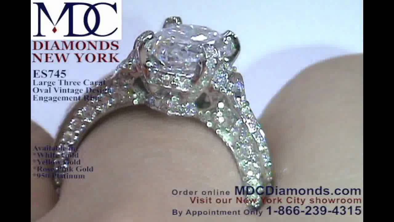 Es745 Large 3 Carat Oval Diamond Engagement Ring In Vintage By Mdc Diamonds Youtube