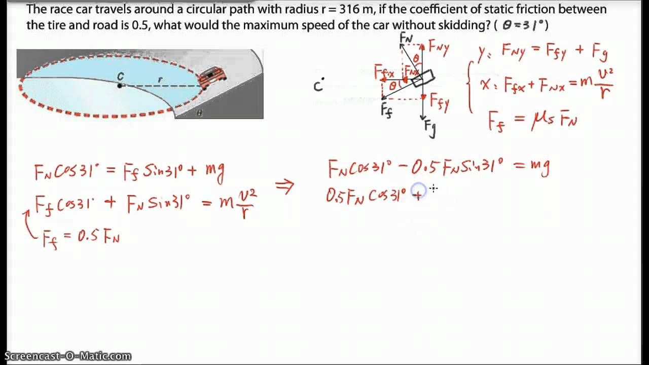 Physics 12 Problem: Banked circular Track