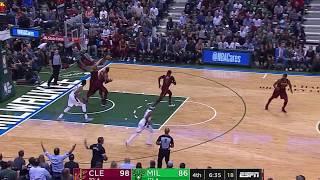 LeBron James blocks Antetokounmpo and hits 3 pointer!