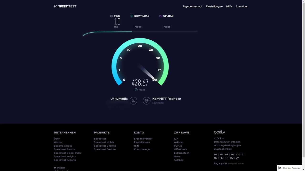 Speedtest Unitymedia 2play Fly 400 Power Upload 400 Mbits