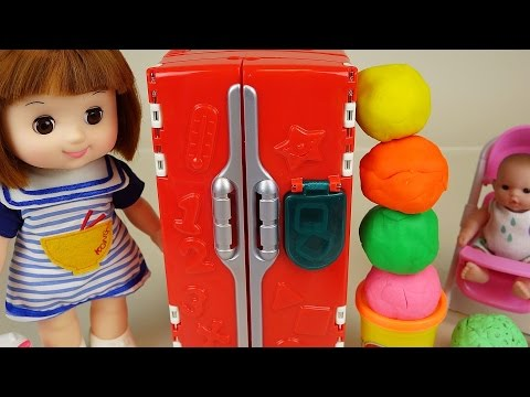 Thumbnail: Play Doh Surprise eggs refrigerator and Baby Doll toys