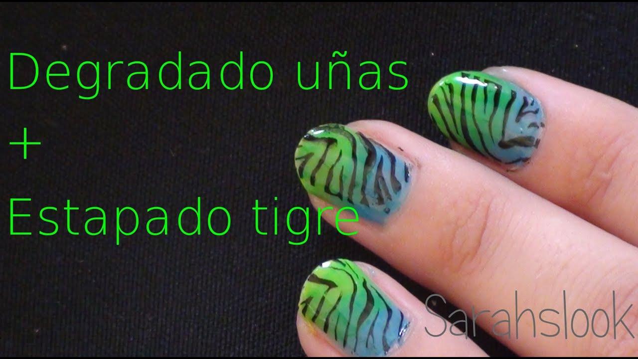 COMO CREAR EFECTO DEGRADADO en las uñas y estampado cebra (Gradient ...