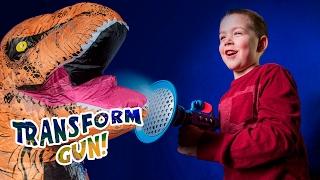 A Clown? A Tiger? A T-REX Dinosaur?! Kid Makes a Transforming Gun!