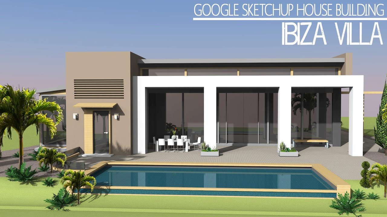 Google sketchup speed build ibiza villa doovi for Sketchup building