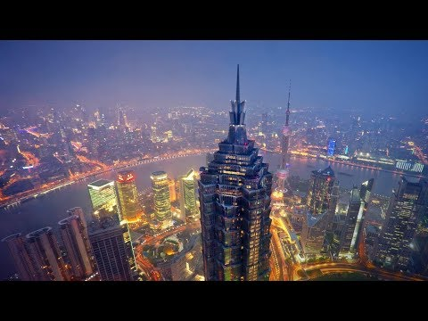 China Travel Tour - Shanghai - walking Lujiazui  Financial Area Pudong weekday from 5-9 pm HD  2017