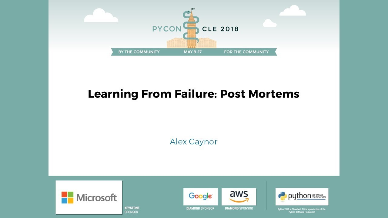 Image from Learning From Failure: Post Mortems